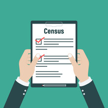 Census. Clipboard In Pen In Ha...