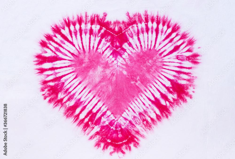 Obraz heart sign tie dye pattern on cotton fabric background. fototapeta, plakat