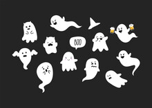 Cute And Funny Ghosts. Halloween Party. Ghosts Doodle. Vector