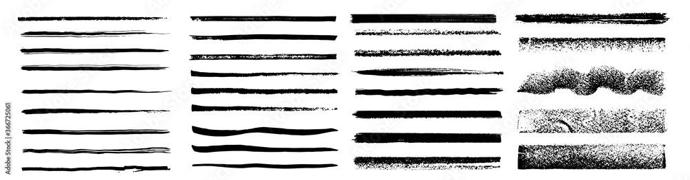Fototapeta Set of artistic pen brushes. Vintage doodle underlines. Hand drawn grunge strokes. Scribble marker borders, sketch underlines.  Set of black strokes. Ink brush drawing. Isolated. Vector illustration