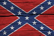 Confederate Flag On Wood Backg...
