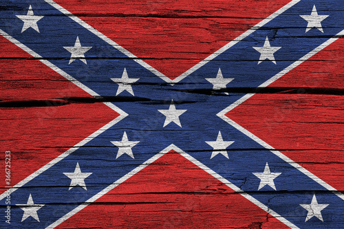Confederate flag on wood background Canvas Print