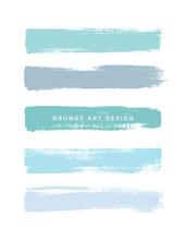 Art Blue Brush Painted Textured Stripes Set Isolated Vector Background. Watercolor Stroke Set.