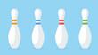 Leinwandbild Motiv Bowling pin set. A game for fun. Vector illustration