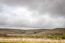 Terrell County, Texas / United States - June 2, 2020: The Amtrak Sunset Limited Train Travels Through The Desert Near Sanderson, Texas.