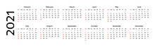 Calendar For 2021 Isolated On A White Background
