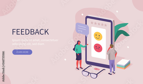Obraz People Characters Giving Feedback. Clients Choosing Satisfaction Rating and Leaving Positive or Negative Review. Customer Service and User Experience Concept. Flat Isometric Vector Illustration. - fototapety do salonu