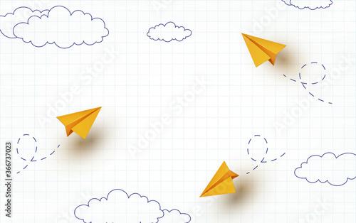 Fototapeta School notebook background. 3d flying yellow paper airplanes. Vector cartoon children planes in air obraz