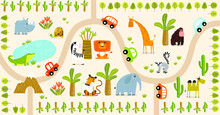 Vector Tropical Maze With Animals In Safari Park. Cartoon Tropical Animals. African Animals. Road In A Safari Park. Game For Children. Children's Play Mat.