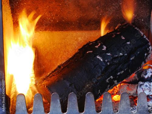 Fototapeta Log burning fire