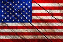 USA Patriotic Grunge Background On Wood