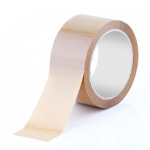 Roll Of Brown Parcel Tape On White