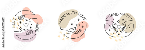 Vector set with trendy hand made labels and badges in linear modern style. Collection of emblems with gestures - hand made, made with love, donate concept
