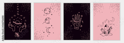 Fotografie, Tablou Set of mystical templates for tarot cards, banners, flyers, posters, brochures, skins