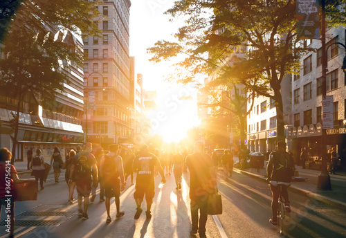 New York City, June 2020: People march into the sunset at a peaceful Black Lives Matter protest on 14th Street near Union Square in Manhattan Wallpaper Mural