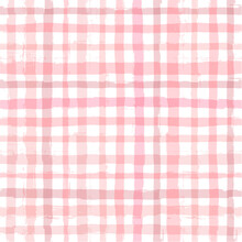Gingham Seamless Pattern. Watercolor Strokes Texture For Textile: Shirts, Plaid, Tablecloths, Clothes, Blankets, Paper, Makeup. Vector Checkered Summer Print