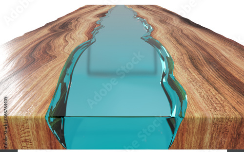 Fototapeta Live edge wooden table with epoxy resin on a white background. 3D rendering obraz