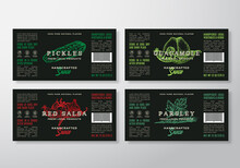 Handcrafted Sauce Labels Template Set. Abstract Vector Packaging Design Layouts. Modern Typography Guacamole And Salsa Banners With Hand Drawn Herbs And Vegetables Silhouettes Background.