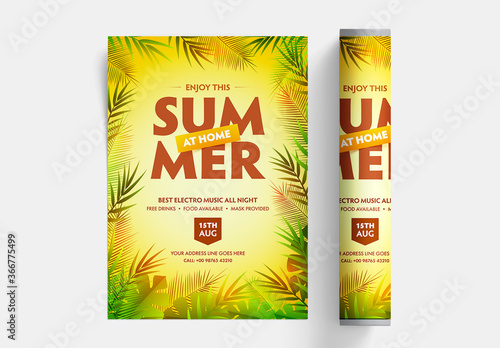 Obraz Summer Party Flyer Layout with Leaves on Yellow Background - fototapety do salonu