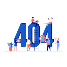 404 Error Vector Illustration Concept With Characters. Modern Vector Illustration In Flat Style For Landing Page, Mobile App, Poster, Flyer, Template, Web Banner, Infographics, Hero Images