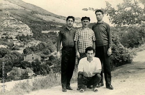 Tela Old portrait of a four brothers. The shot was taken 1968 year.