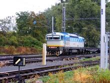 View Of A Diesel Locomotive Pulling A Freight Train Under An Overhead Line, Railway Romance, Czech Republic