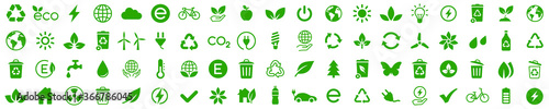 Fotografía Ecology icons set. Nature icon. Eco green icons. Vector