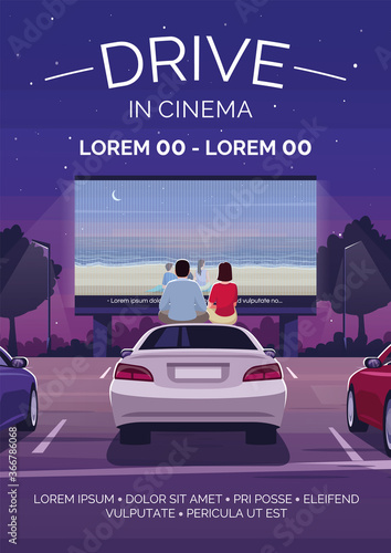 Drive in cinema poster template. Film premiere. Public event. Commercial flyer design with semi flat illustration. Vector cartoon promo card. Open air movie watching advertising invitation
