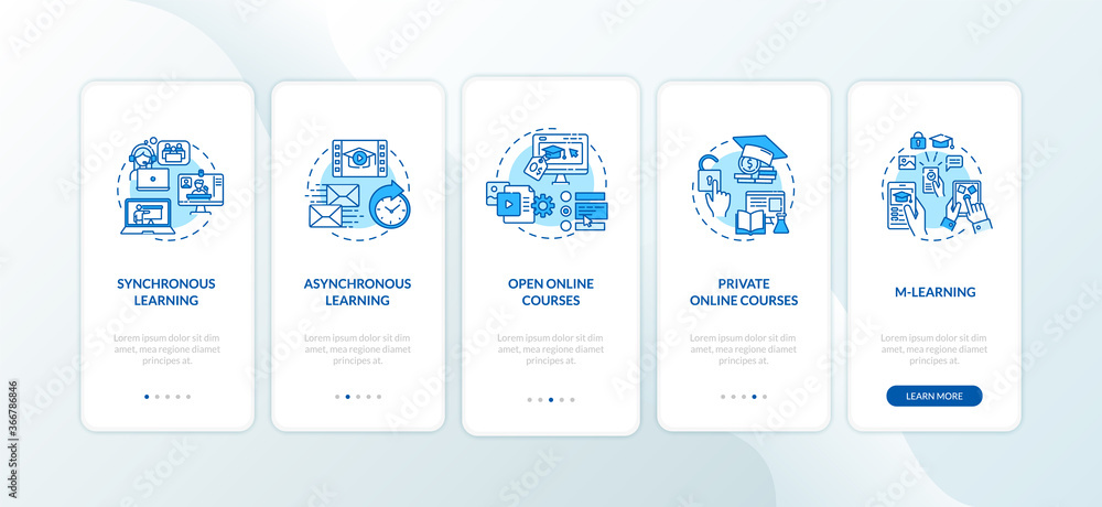 Fototapeta Distance learning types onboarding mobile app page screen with concepts. Synchronous learning. E learning walkthrough 5 steps graphic instructions. UI vector template with RGB color illustrations