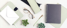 Styled Minimal Desktop Mockup With Organic Color Stationary. Freelancer, Social Media Blogger Concept. Flat Lay, Top View, Copy Space, Banner.