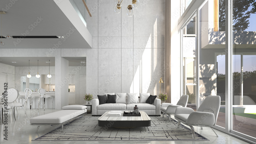 Fototapeta Modern luxury beautiful mock up scene of living room interior design and pattern wall background and dining and pantry area