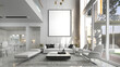 Leinwanddruck Bild - Modern luxury beautiful mock up scene of living room interior design and pattern wall background and picture frame and dining room and pantry area