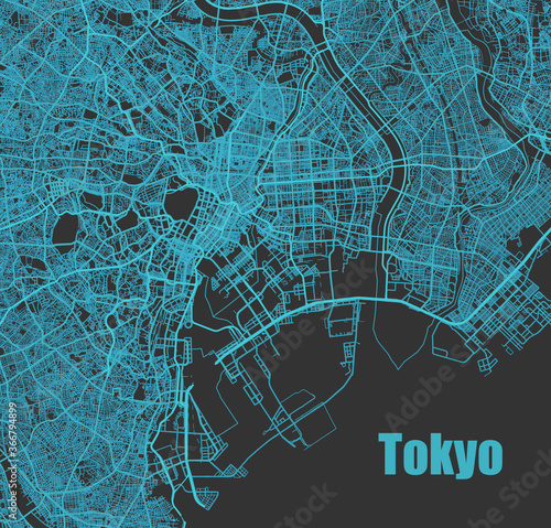 Stylish vector high-tech map of Tokyo, Japan. with blue streets Canvas Print