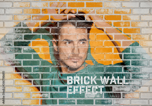 Fototapeta Brick Wall Photo Effect Mockup obraz