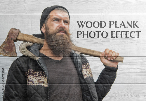 Fototapeta Wood Plank Photo Effect Mockup obraz