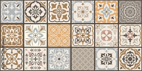 Fotografia Collection of 18 ceramic tiles in turkish style