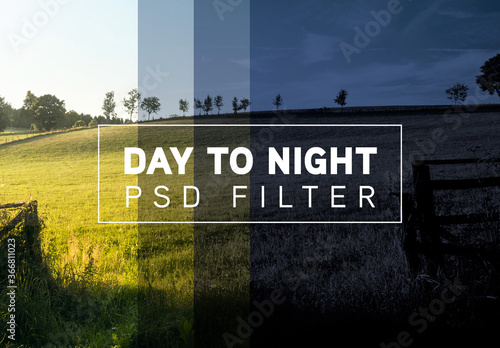 Fototapeta Photo Day to Night Filter Mockup obraz