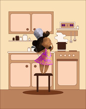 A Little Cute Girl In A Beautiful Purple Dress Is Cooking Food In The Kitchen. Ideal For Printing Book Images, Covers, And Postcard Flyers. EPS 10