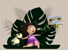 A Little Cute Girl Waves Away The Angry Bees While The Panda Runs Away Against The Background Of Tropical Leaves. Ideal For Printing Book Images, Covers, And Postcard Flyers. EPS 10