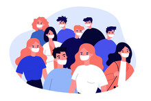 Crowd Of People Wearing Medical Face Masks. Men And Women Protecting Themselves From Corona Virus. Illustration For Quarantine, Safety, Disease, Outbreak Concept
