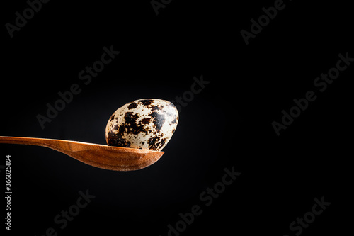 Photo Macro shot of the quail egg in the wooden spoon on the black background