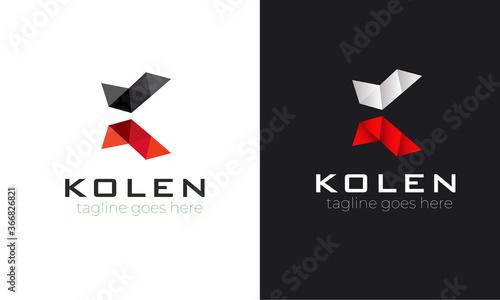 Letter K logo icon design template elements K latter logo design modern minimal line art creative unique logotype Poster Mural XXL