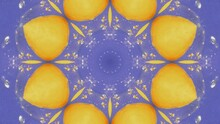 Yellow Lemon Abstract Psychedelic Kaleidoscope Patterns. Fruit In Bubbling Geometric Shapes On Light Blue Backdrop. Kaleidoscopic Animated VJ Loop Or Motion Background. Circles, Stars And Flowers.