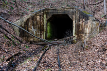 Derelict Tunnel With Narrow Ga...