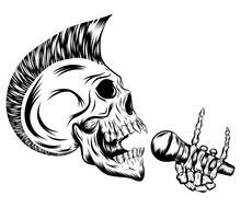 Skull Punk Singing And Holding...
