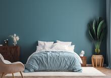 Home Interior Mock-up Background, Dark Blue Bedroom With Potted Palm, 3d Render