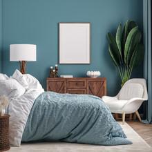 Mockup Frame In Dark Green Bed...