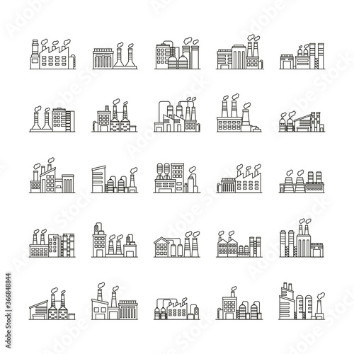 Fototapety, obrazy: bundle of industry factory set icons
