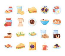 Bundle Of Breakfast Food Set Icons