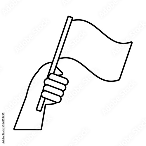 Valokuvatapetti hand human with flag protest line style icon